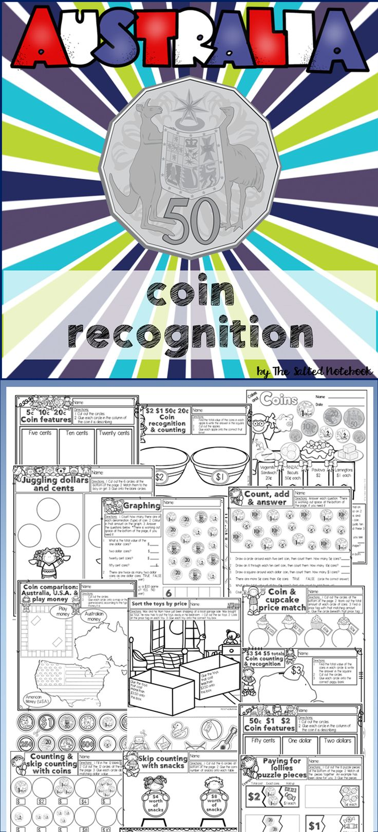 Australian money unit focusing on coin recognition. 15 fun written and cut & paste worksheets (with answers) cover  coin features, money amounts, price matching, skip counting & coin comparisons in a visually engaging format.