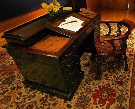 The desk of Charles Dickens.  Oh the characters created upon this desk!! ~LMB