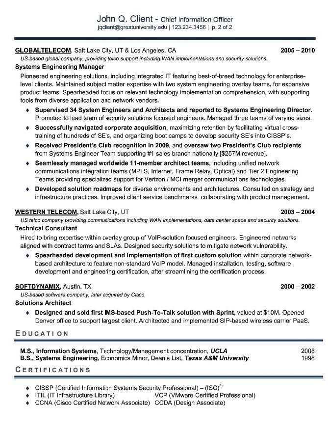 Sample Cio Resume The Cio Vs The Cto, Resumes Designed For Teachers - cio resume sample