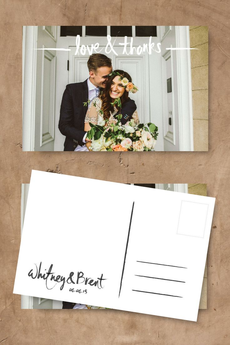 Photo Wedding Thank You Cards Printable Postcard LOVE AND THANKS Card Template