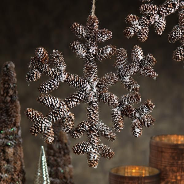 """Autumn Frost Pine Cone Snowflake - Set of Four - Dimensions: 11"""" - Imported"""