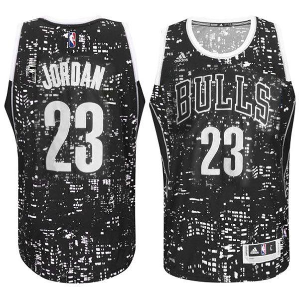 Men's NBA Chicago Bulls #23 Michael Jordan Lights Black Swingman