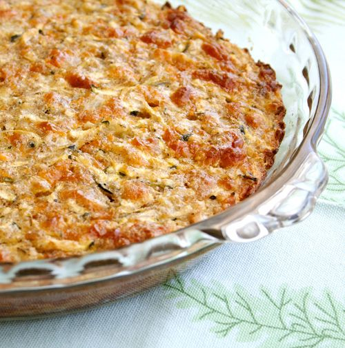 Savory Zucchini Pie - 2 c. shredded zucchini, 2 eggs, 1 diced onion, 3/4 c. Bisquick, 3/4 c.shredded Cheddar cheese, 1/4 c. oil, 1/2 tsp. salt, 1/4 tsp. pepper, 1/4 tsp. sage, 1/4 tsp. paprika.  350 for 45 min.