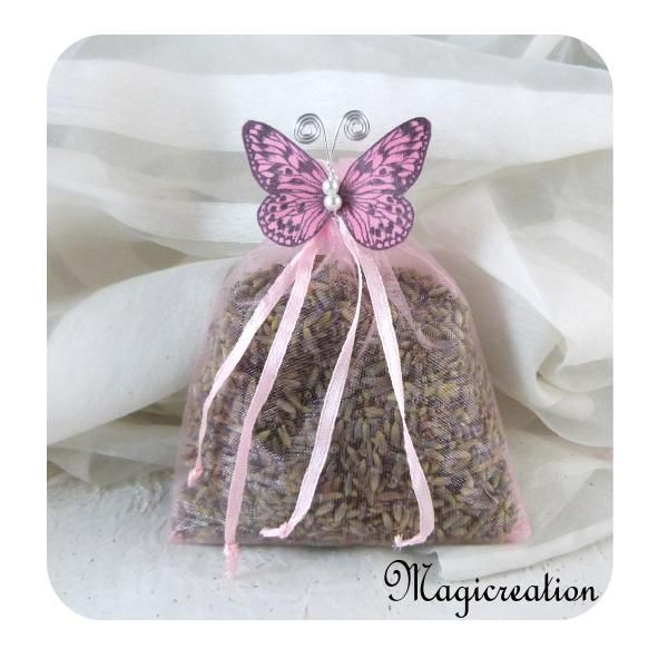 SACHET LAVANDE ROSE PAPILLON SOIE ROSE - Boutique www.magicreation.fr