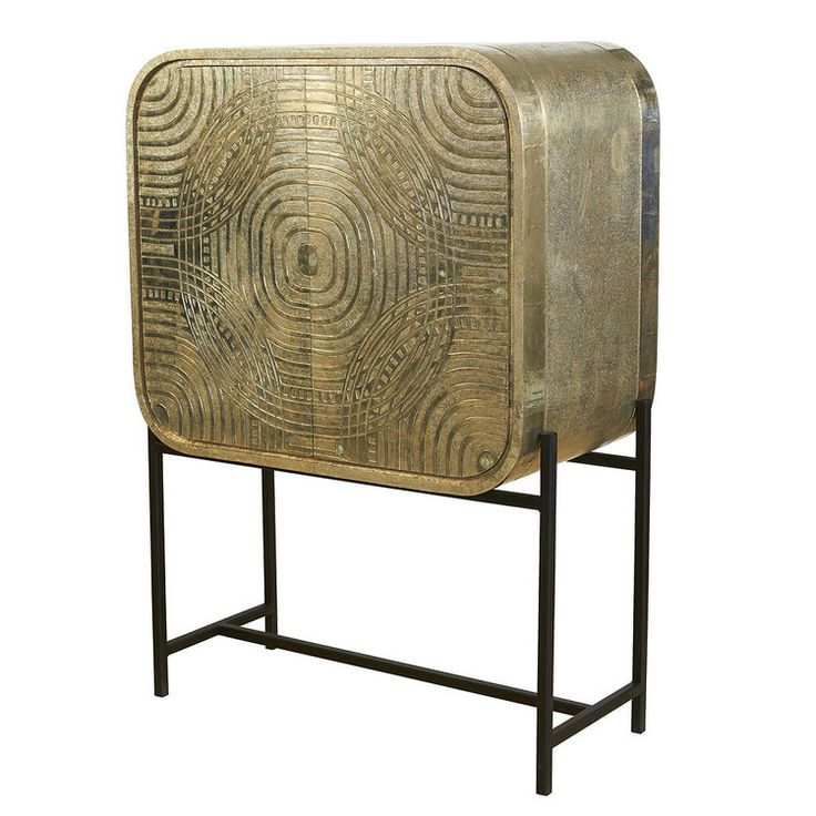 """The front of the Milan Bar Cabinet was inspired by the mod """"Milan Tapestry"""" design discovered in the Broadhurst design archives. Resurrected here as a carved design and clad in brass for the doors on"""