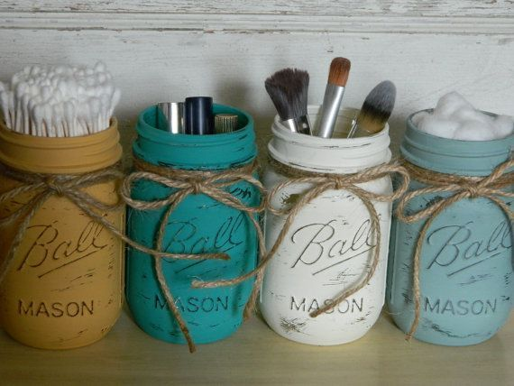 Make-Up Brush Holder / Hand Painted Pint Mason Jars / Pint Jars / Flower Vases / Annie Sloan Chalk Paint / Home and Wedding Decor on Etsy, $24.00