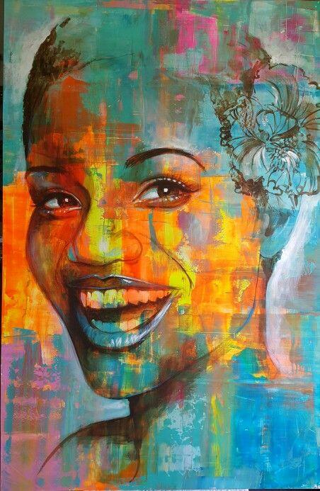 gerhard jabulani paintings vuuren van acrylic portrait painting african