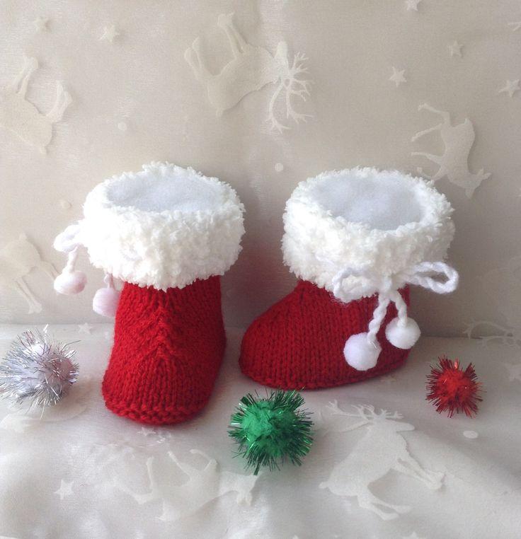 Bottes de Noël en laine pour bébé, taille 9 mois, rouge et blanc. : Mode Bébé par tricot-bonnie