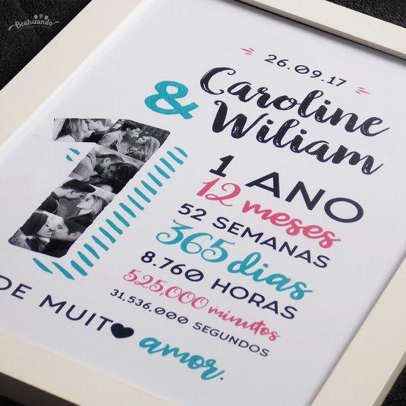 Quadro Casal Aniversario Namoro A4 Presentes Criativos Para