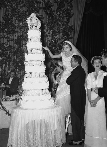 Eunice Kennedy and Sargent Shriver wedding cake 1953. #Celebritystyleweddings.com @Celebrity Style Weddings
