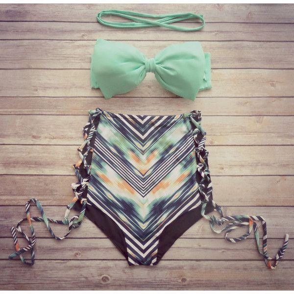 Bow Bandeau Bikini Swimsuit Cute Vintage Retro Style High Waisted... ($56) ❤ liked on Polyvore featuring swimwear, bikinis, grey, women's clothing, tankini swimsuit tops, vintage high waisted bikini, padded bikini tops, high waist bikini swimsuit and swimsuits two piece