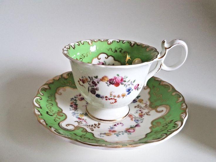Details about English Porcelain trio coffee cup, tea cup & saucer Rococo Minton Coalport 1835