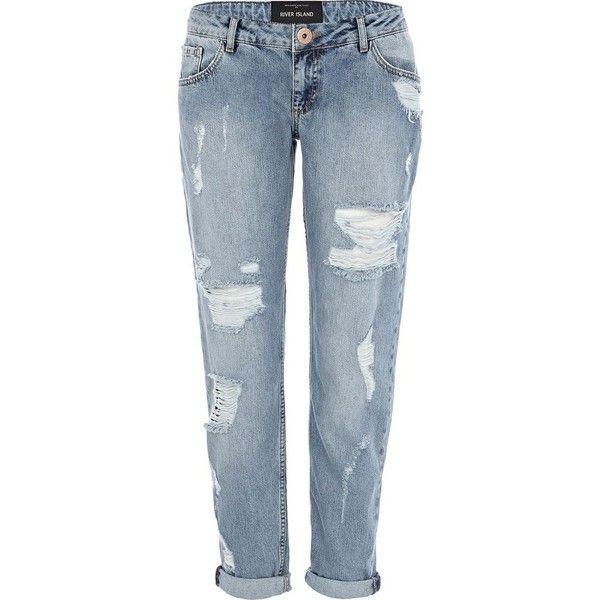 River Island Light Denim Cassie Ripped Boyfriend Jeans (€55) found on Polyvore
