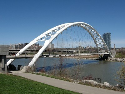 Beautiful Humber Bay Arch Bridge on bank of Lake Ontario in Toronto, Ontario, Canada