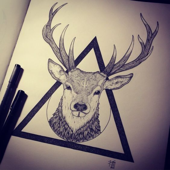 Attractive dotwork deer head in black triangle tattoo design