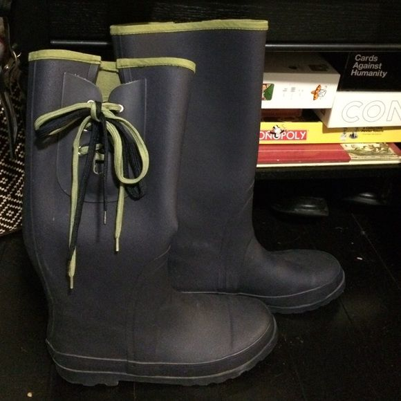 Slightly worn J Crew Blue Wellies size 9 Great blue rain boots from J Crew! Must have worn them no more than a few times! Super comfy and dry!! J. Crew Shoes