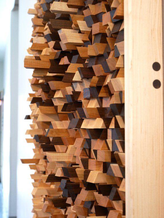 Wood Sculpture Mosaic Wall Art Sound Diffuser Panel Etsy Wood Wall Art Acoustic Panels Wood Wall