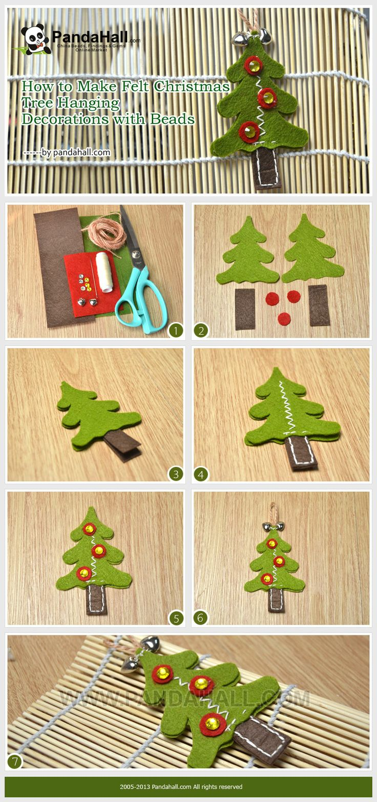 How to Make Felt Christmas Tree Hanging Decorations with Beads