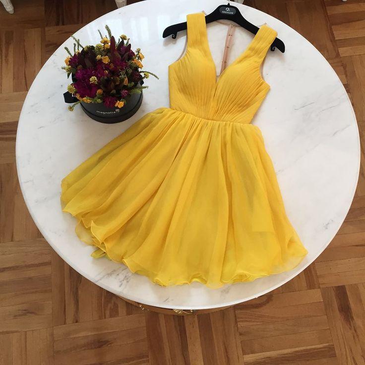 CRISTALLINI #Prom #YellowDress #CocktailDress #SilkDress