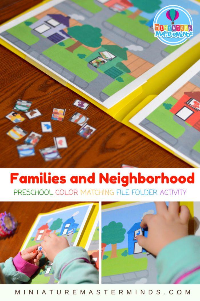 Families and Neighborhood Preschool Color Match File Folder Activity – Miniature Masterminds