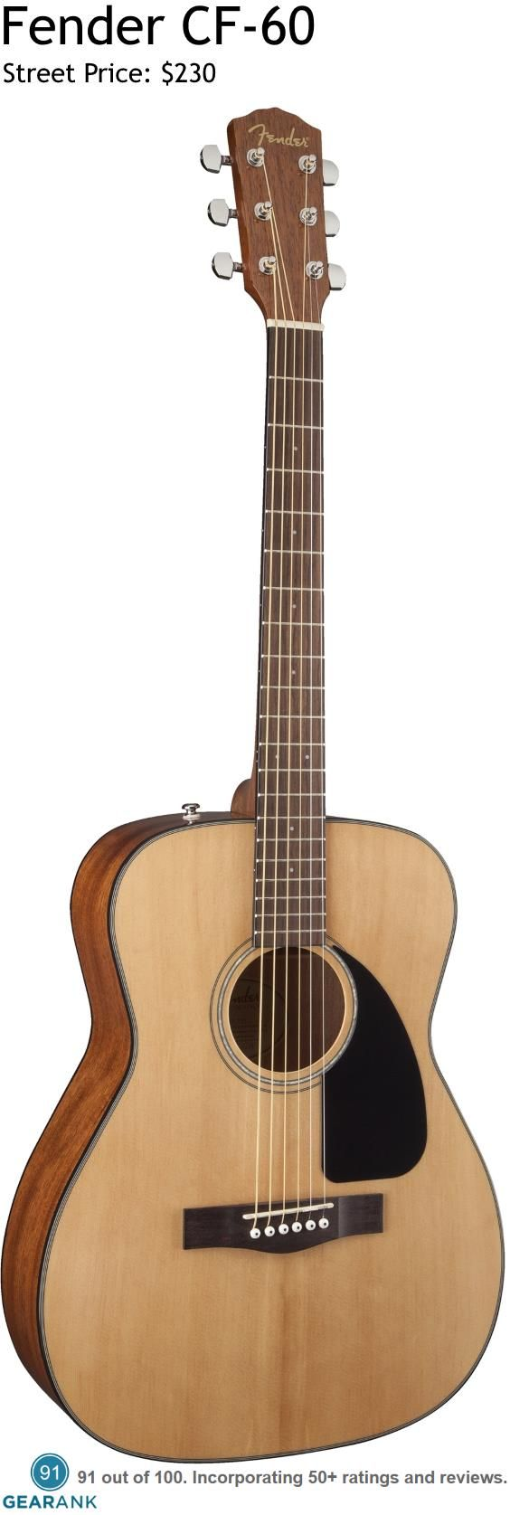 """Fender CF-60. This folk-sized guitar has a spruce top with scalloped """"X""""-bracing and mahogany back and sides. It's one of the highest rated acoustic guitars under $300."""