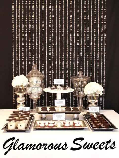 Black, White and Silver themed Holiday Party- Dessert table Dessert Bar Wedding