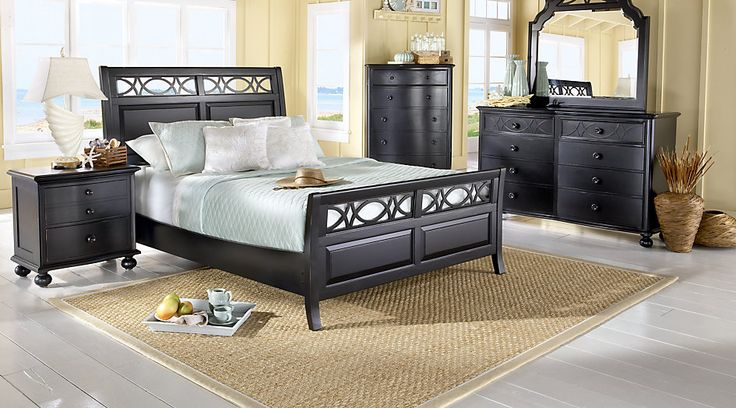 Cindy Crawford Home Seaside Black 5 Pc King Sleigh Bedroom from  Furniture