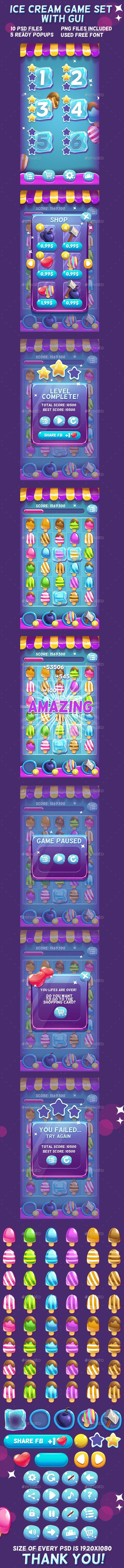 Ice Cream Game Set with UI (Game Kits)