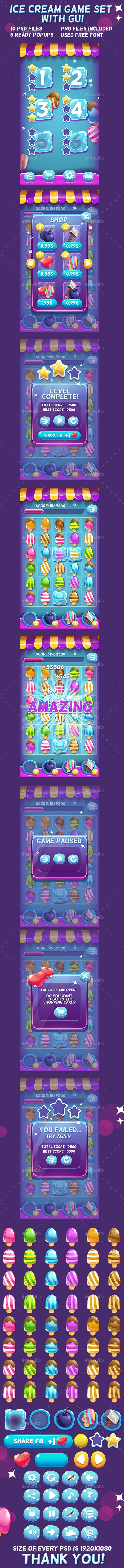 Ice Cream Game Set with UI - Game Kits Game Asset Design Template PSD. Download here: http://graphicriver.net/item/ice-cream-game-set-with-ui/16578021?ref=yinkira
