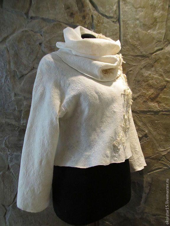 """Купить Авторский валяный комплект свитер+снуд """"Angel"""" - белый, свитер женский, свитер, белый свитер"""