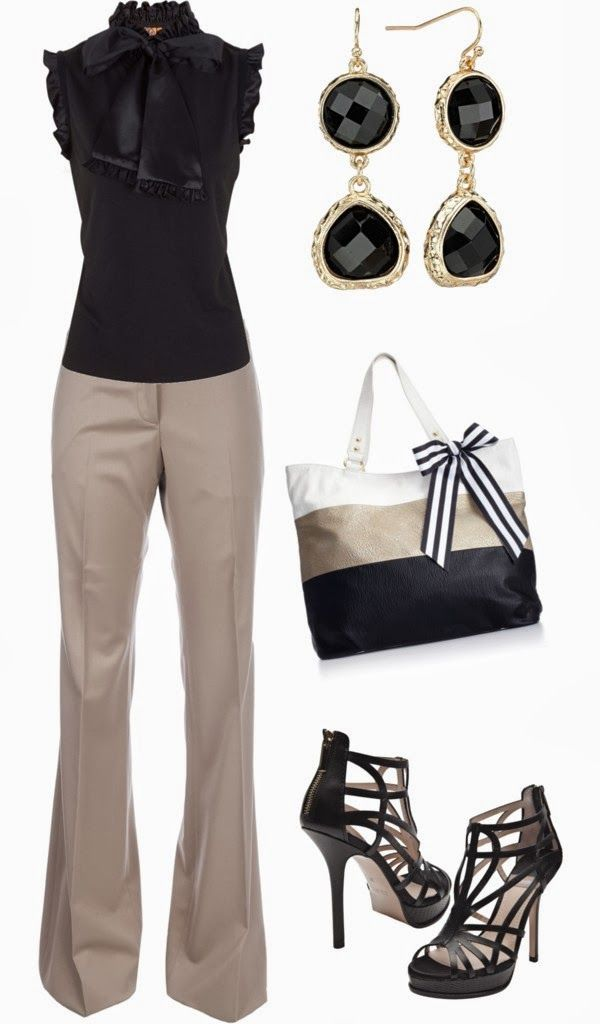Classy Outfits | Classy Work  Tory Burch blouse, BURBERRY PRORSUM trousers, BALDAN high heels, Steve Madden bag  by jliz516