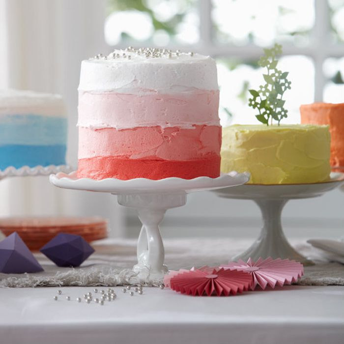 Multi-color layer cake! Chatelaine Magazine - Photographs by Colin Faulkner | Food Styling by Ashley Denton, Irene Ngo and Kristin Eppich.