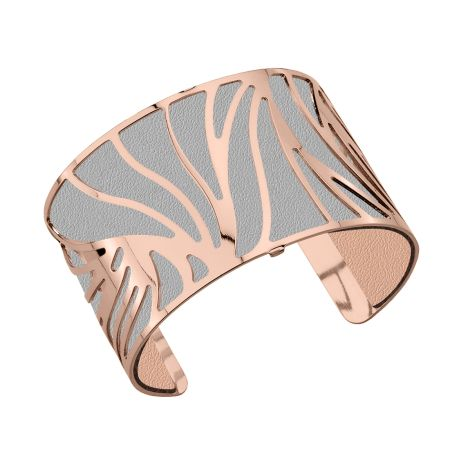 "Les Georgettes ""Perroquet"" Large Bracelet in Rose Gold, with Light Grey/Light Pink Leather"