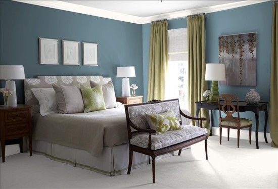 Blue dusk paint (Benjamin Moore) for the master bedroom