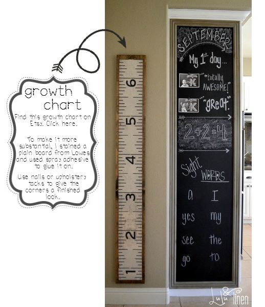 wood growth chart. add some nails and dark stain to make it a little more fantastic.