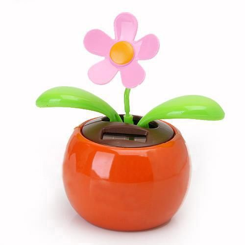 [Visit to Buy] Flip Flap Solar Powered Flower Flowerpot Swing Dancing Toy - Orange #Advertisement