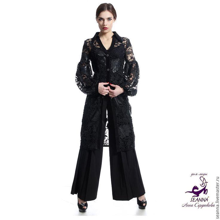 """Купить Платье-пальто """"Кожаное кружево с розами"""" очень красивоев любом размере - платье, пальто"""