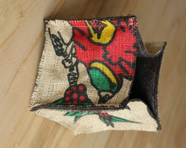 Nachhaltig produzierte Kaffeekistchen von traditionsWerk aus Kaffeesack und Naturfilz. Perfekte Pflanzenbehausung!