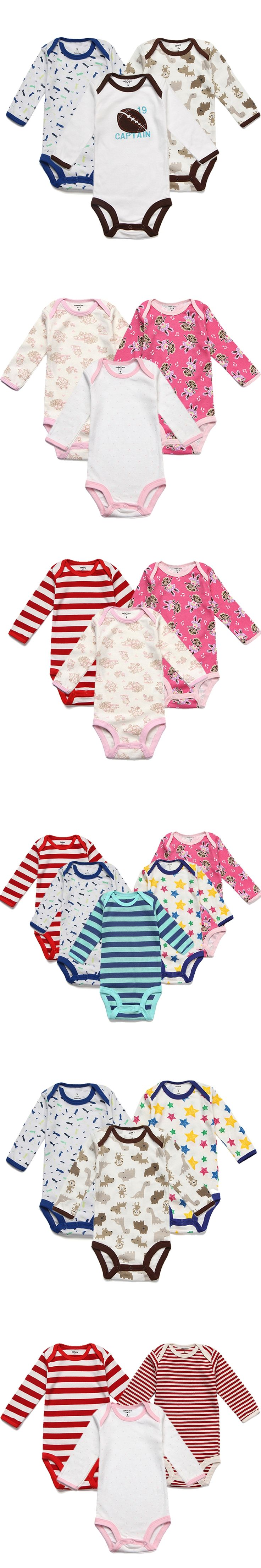 3pcs Lot New Born Clothes Long Sleeves Baby Rompers Infant Costume Bebe Jumpsuits e Piece