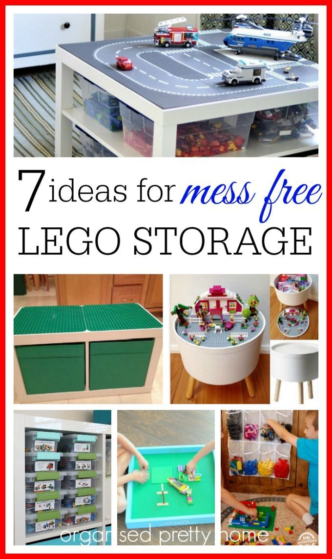 What is the best way to store the kids' Lego? Lego organization with these storage ideas and solutions. DIY or Ikea. Consider by color, under bed, containers, boxes, display table, bag.  #lego #legostorage #legotable #legominifigures #ikea #diy #playroom #playroomideas #organize #organizedhome #kids #kidsroom #organizetoys #organizelego