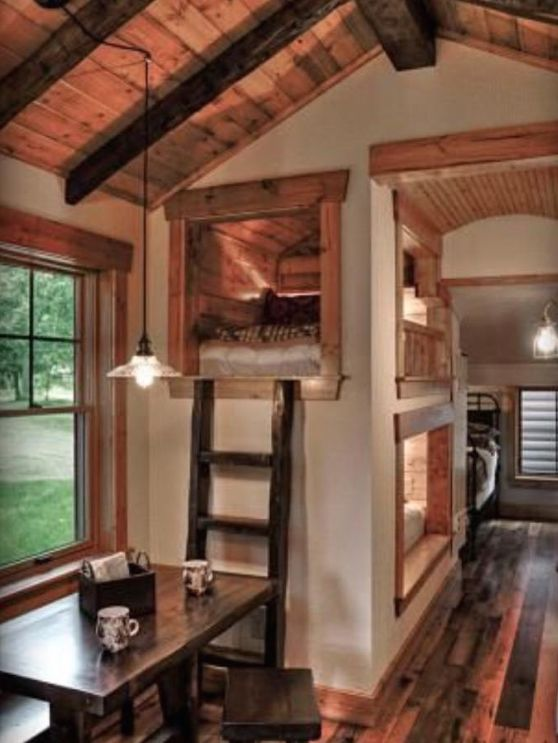 Tiny house with sleeping cubby hole type spaces
