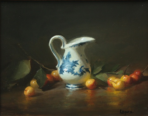 Leah Lopez :: Paintings :: Delft Creamer and Cherries