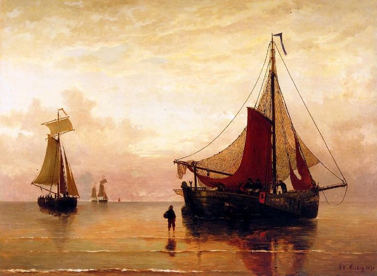 Hendrik Willem Mesdag (1831-1915) Zonsondergang op het strand van Scheveningen.