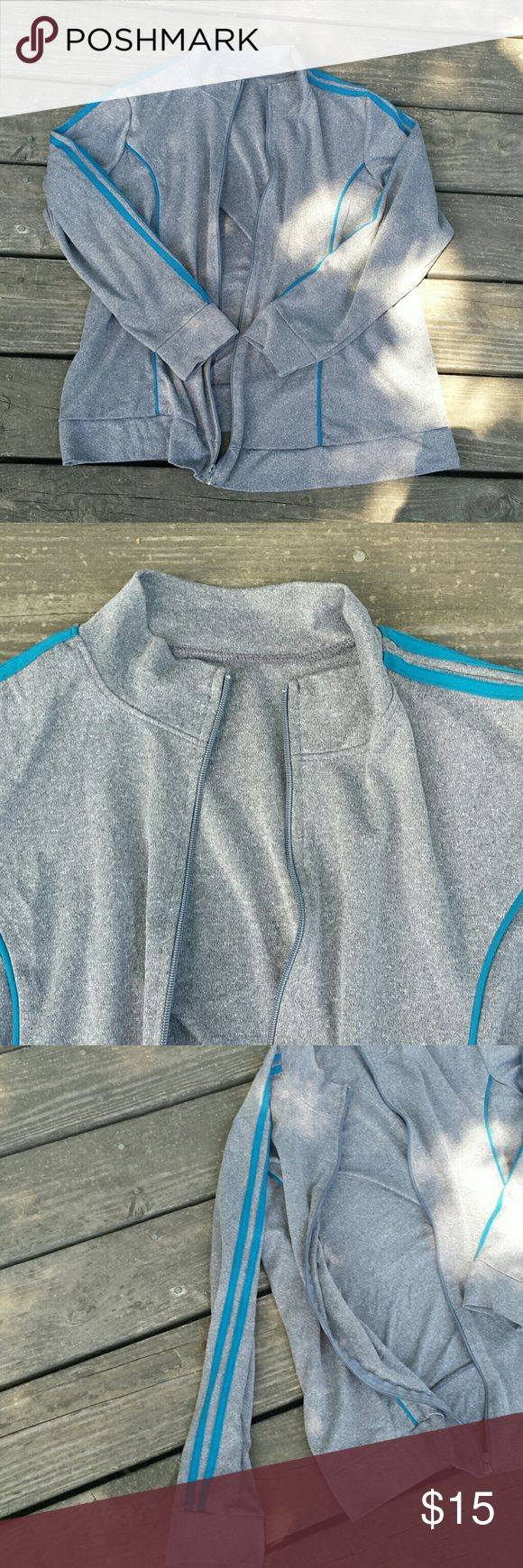 Women's gray athletic jacket Women's gray athletic jacket. Size large. Zipper in front thay goes all the way up and down. Jackets & Coats