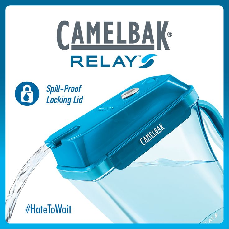 CamelBak Relay filters at the speed of your faucet. This eliminates the need for a filling reservoir (located at the top of most pitchers), making Relay easy to balance and virtually impossible to spill.CamelBak Relay filters at the speed of your faucet. This eliminates the need for a filling reservoir (located at the top of most pitchers), making Relay easy to balance and virtually impossible to spill.
