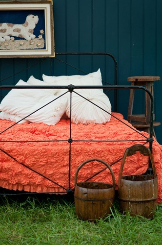 navy and orange-love the shade of navy and coral/orange together. perfect for my spare bedroom with a hint of minty green. :)