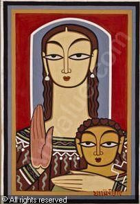 Mary and Jesus, by Jamini Roy