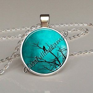 Turquoise bird on branch Pendant Cute Lazure Blue Bird Necklace Nature Photography Bird On branch Tree Pendant Best Gifts for Bird Lover Jewelry Woodland Bird Jewellery Glassfulldreams Made in UK