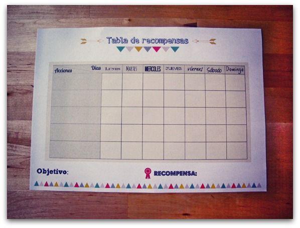 Tabla de recompensas para niños - Imprimible