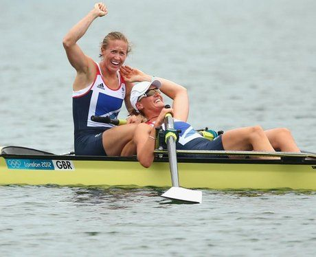 Helen Glover and Heather Stanning win Team GB's first gold in the Women's Coxless Pairs.